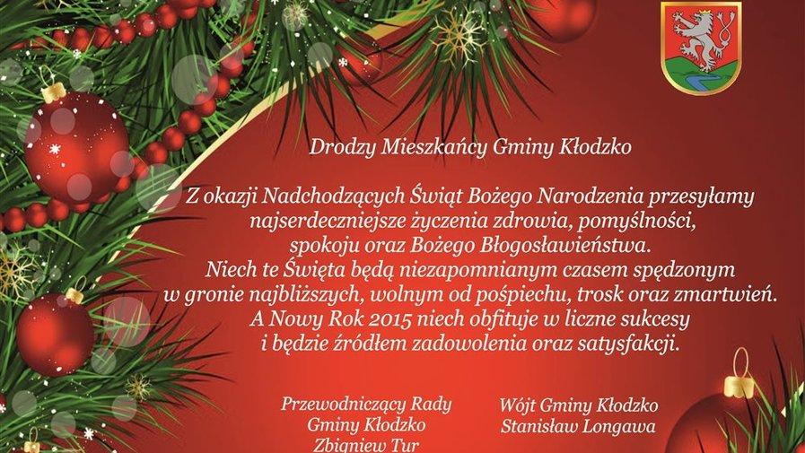 Życzenia Świąteczne Wójta Gminy Kłodzko