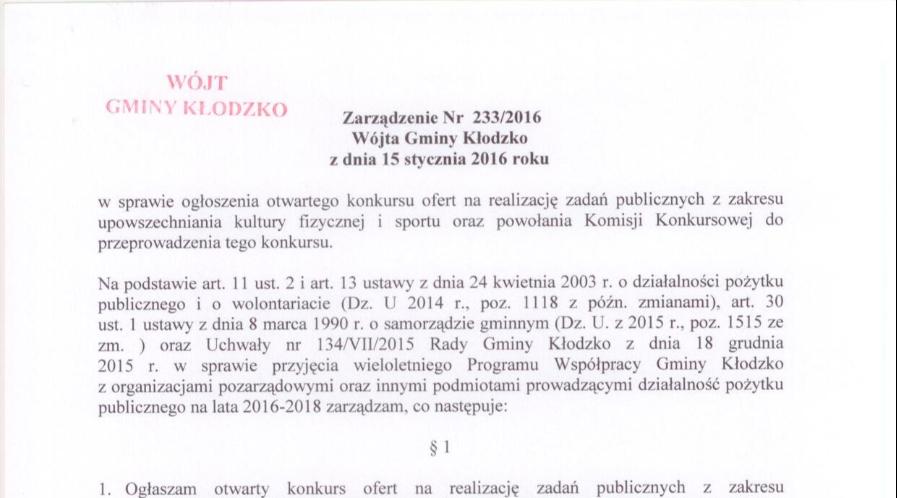 Zarządzenie nr 233/2016 Wójta Gminy Kłodzko z dnia 15 stycznia 2016 roku
