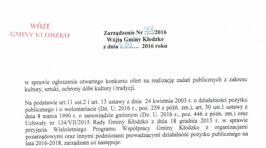 Zarządzenie nr 298/2016
