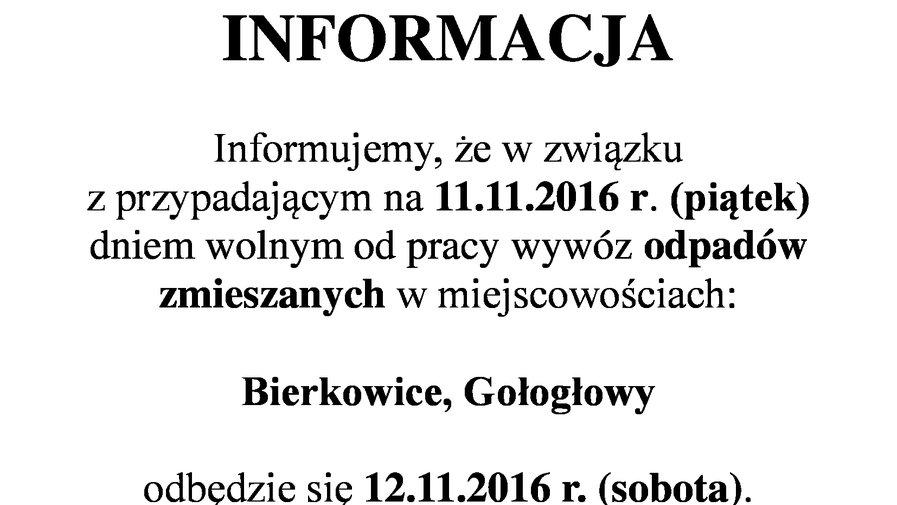 Zmiana terminu wywozu odpadów (Bierkowice, Gołogłowy)