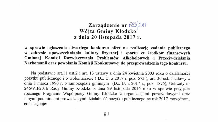 Zarządzenie nr 653/2017