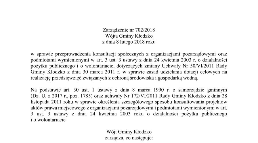 Zarządzenie nr 702/2018