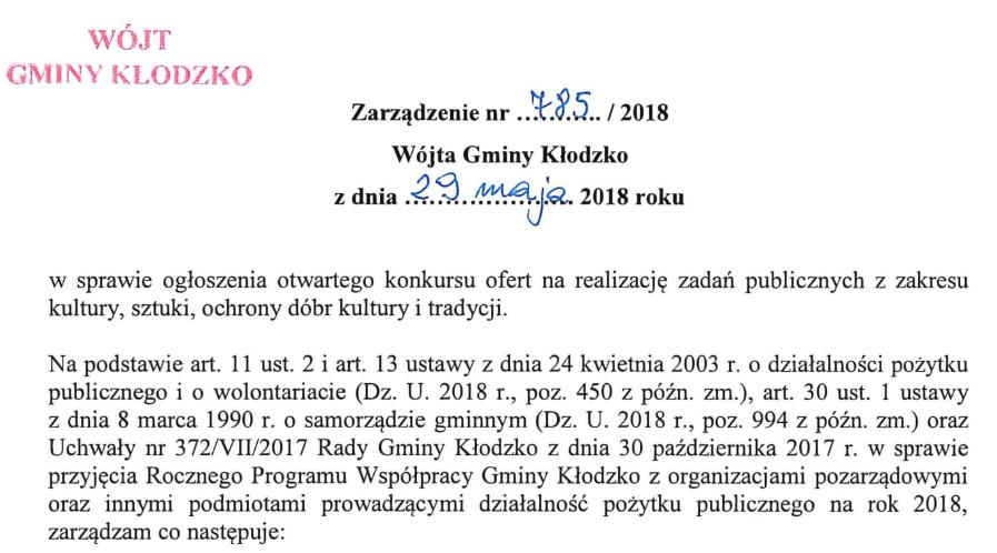 Zarządzenie nr 785/2018