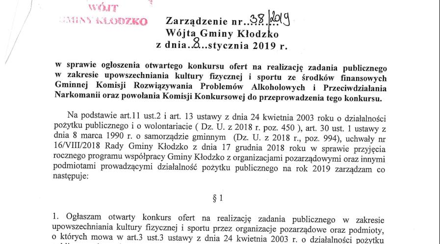 Zarządzenie nr 38/2019
