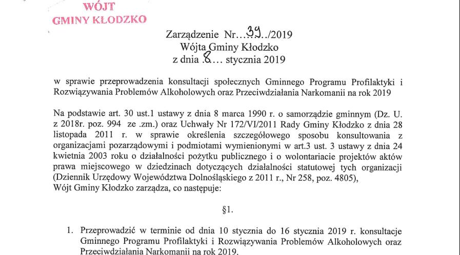 Zarządzenie nr 39/2019