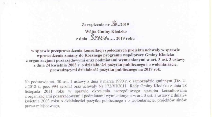 Zarządzenie nr 86/2019