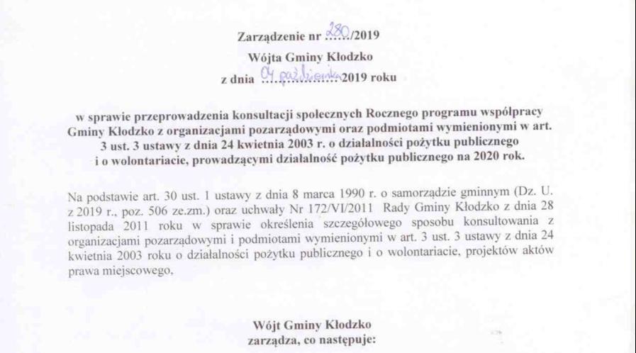 Zarządzenie 280/2019