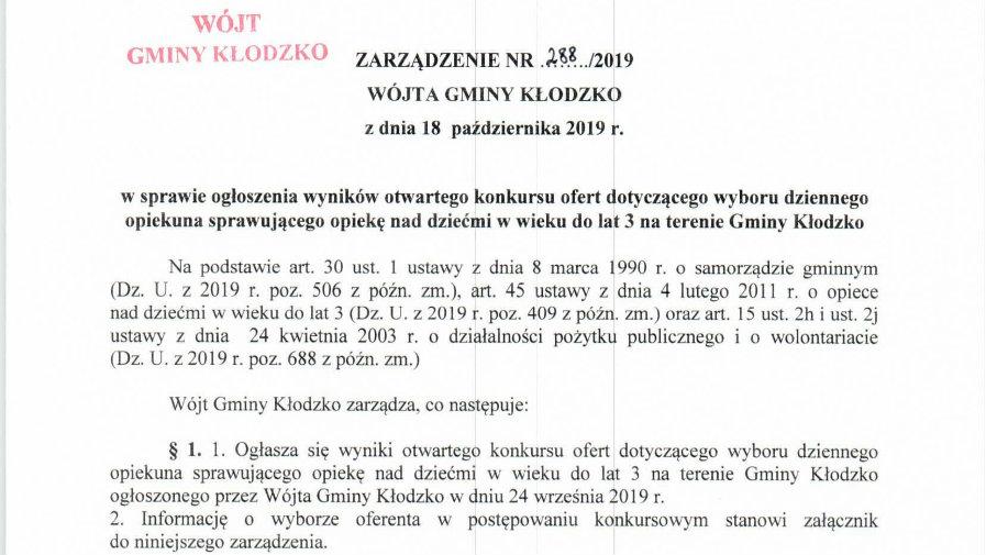 Zarządzenie nr 288/2019