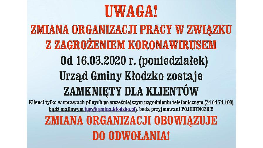 Uwaga! Zmiana organizacji pracy urzędu!