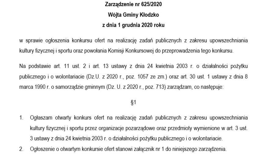 Zarządzenie nr 625/2020
