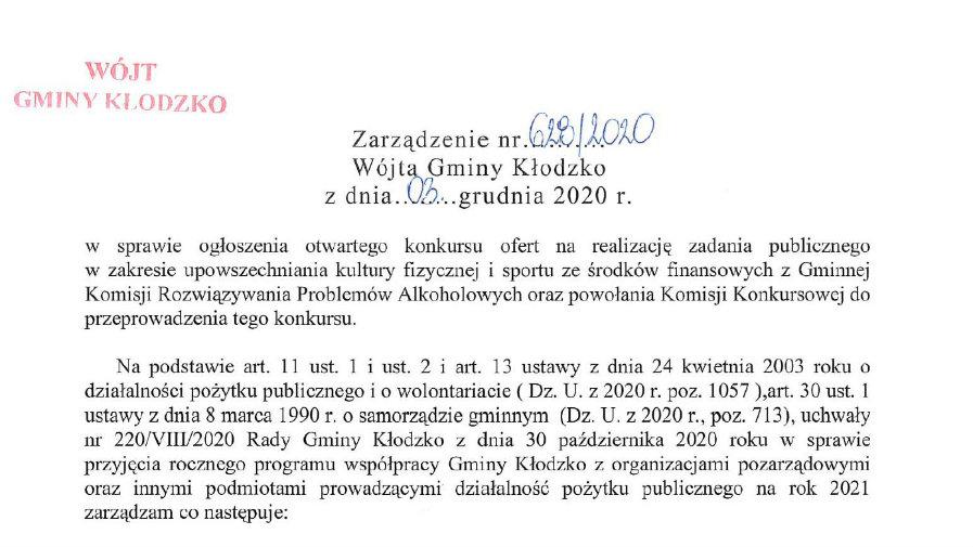 Zarządzenie nr 628/2020