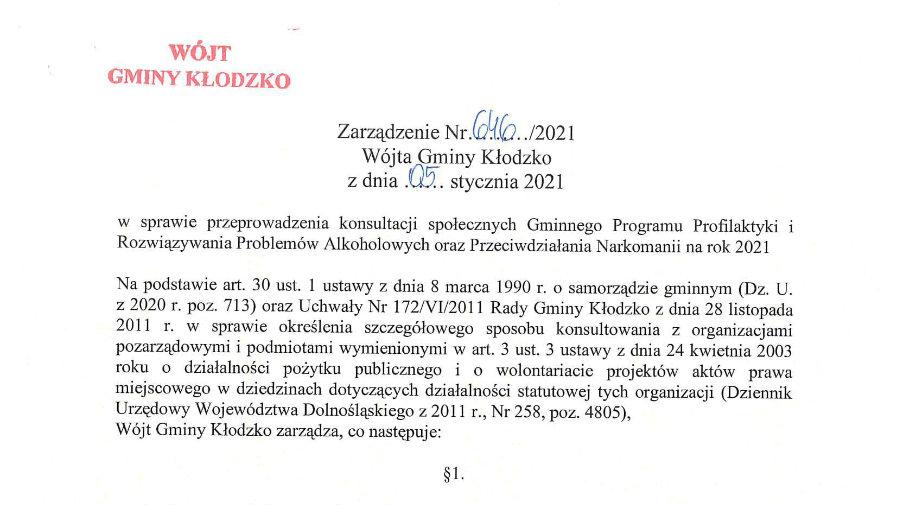 Zarządzenie nr 646/2021