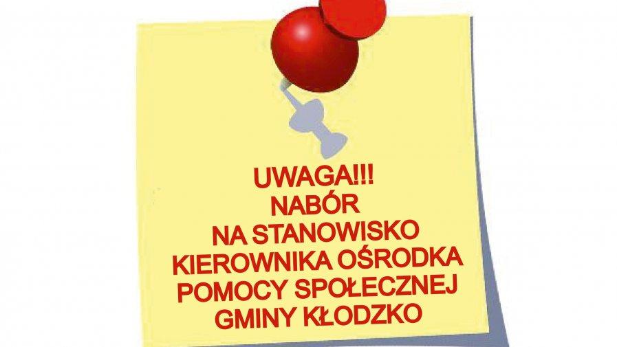 Trwa nabór na stanowisko kierownika OPSu Gminy Kłodzko