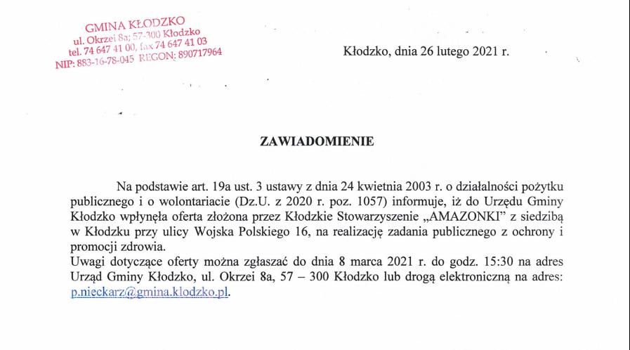 Wpłynęła oferta na realizację zadania (Amazonki)