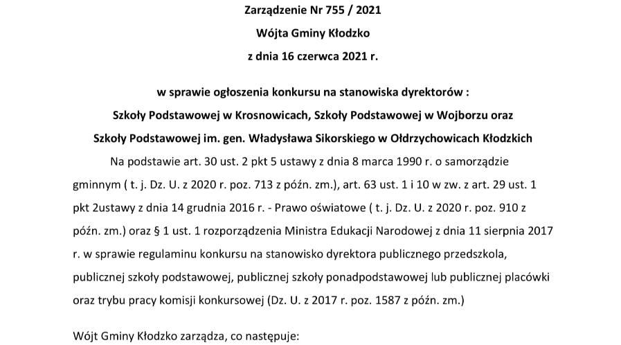Zarządzenie nr 755/2021